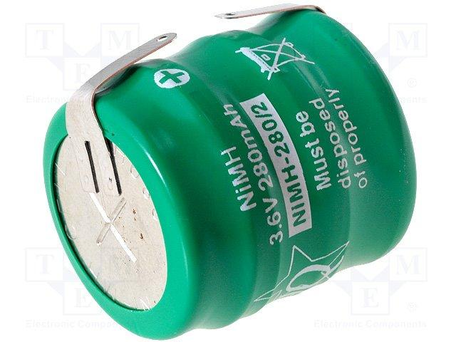Accu bouton ni-mh 3.6v 280ma d=26mm h=25mm a souder