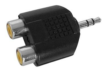 Adaptateur audio-video jack 3.5mm male stereo / 2 x rca femelle