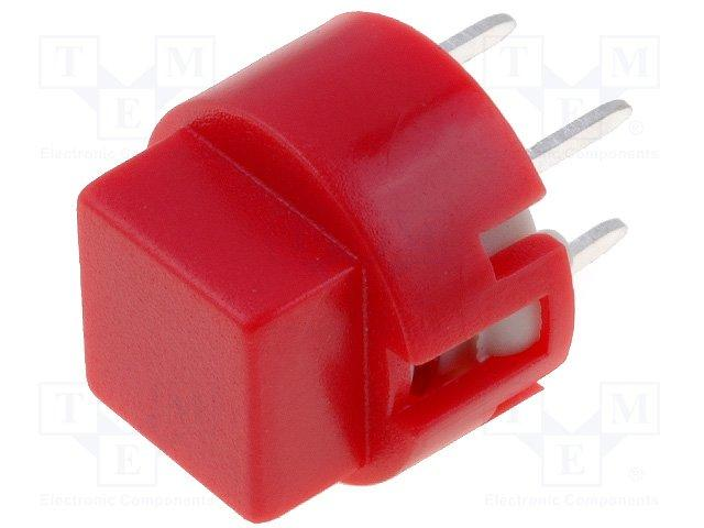 Inter poussoir carre off- (on) pour ci  0.01a / 35vdc 12x12mm h=11mm rouge