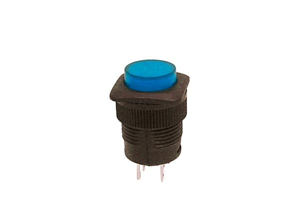 Nter a poussoir 1t impulsion off-(on)1a/250v d=16mm  bleu avec led 1.7v