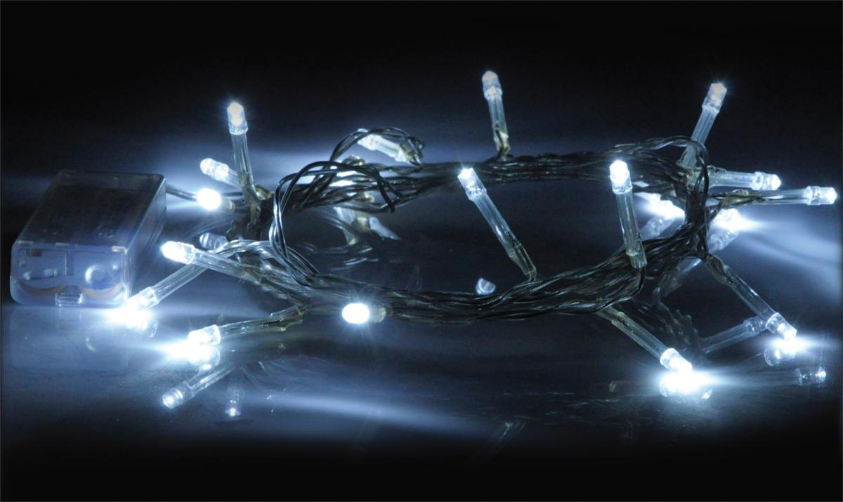 Guirlande a 20 led blanc froid l= 1.80m alim : 2 x piles aa (non fournies )