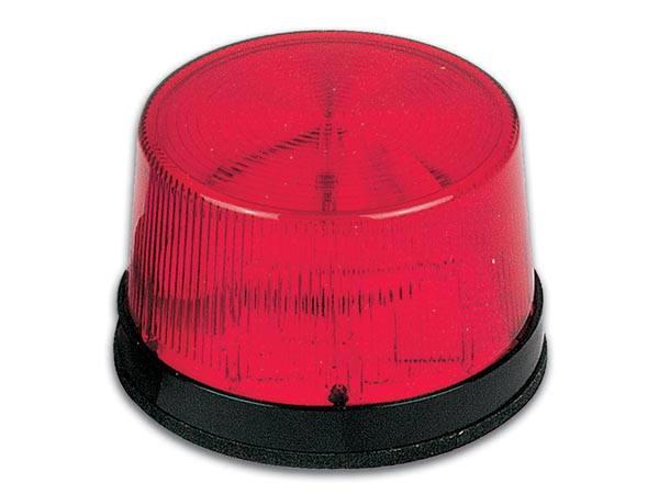Flash stroboscopique à led - rouge - 12 vcc - ø 77 mm