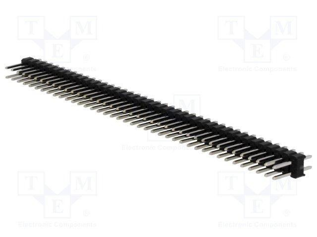 Barrette male/male secable 2 x 40 broches pas 2.54mm 11.6mm 3a 500v