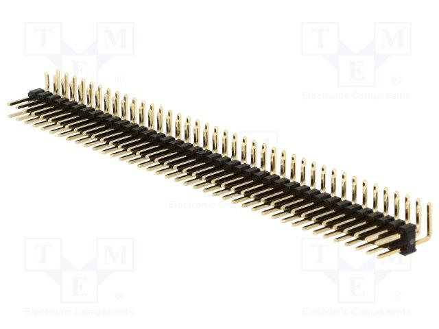 Barrette male/male secable coude 90° 2 x 40 broches pas 2.54mm 11.6mm 3a 500v