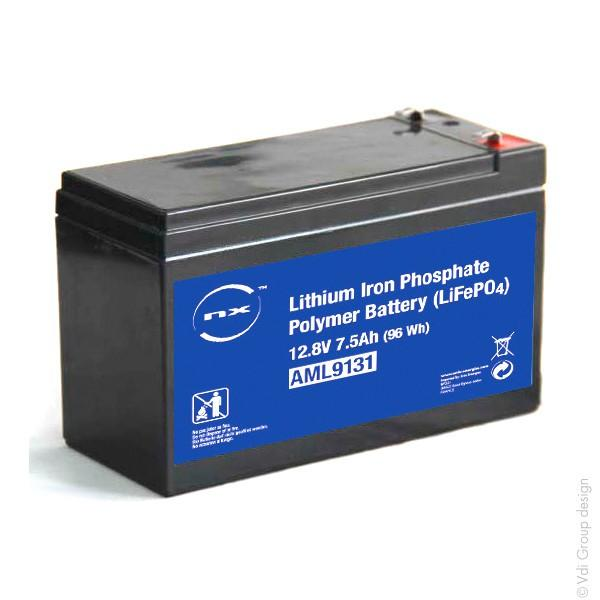 Batterie lithium fer phosphate (lifepo4) 12v 7.5a 151 x 65 x 95mm