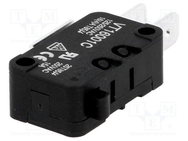 Micro switch nu 1 rt 16a 250v 28 x 16 x 10mm