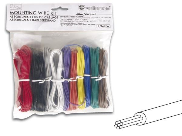 Assortiment fils de cablage 0.2mm2 d= 1.4mm - 10 couleurs - 60m -ame multibrins