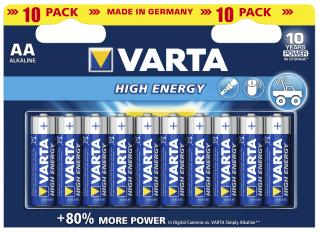 Pile cylindrique alcaline aa / r06 high energy varta 4906.1 21.414 (10 pc/bl)